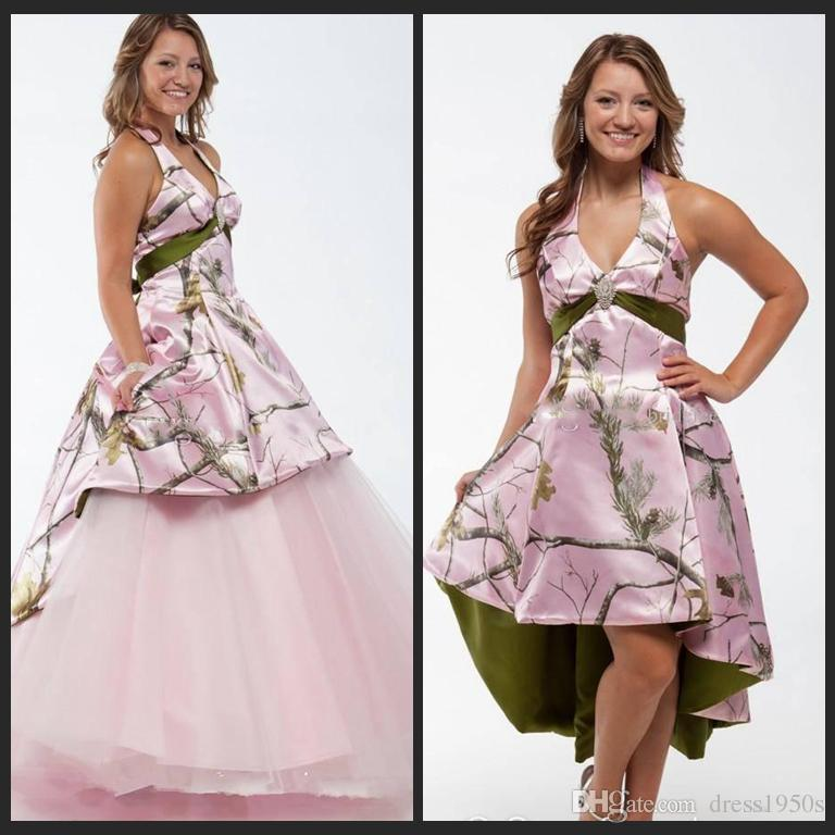 Discount New Pink Camo Wedding Dresses 2018 With Detachable Skirt ...