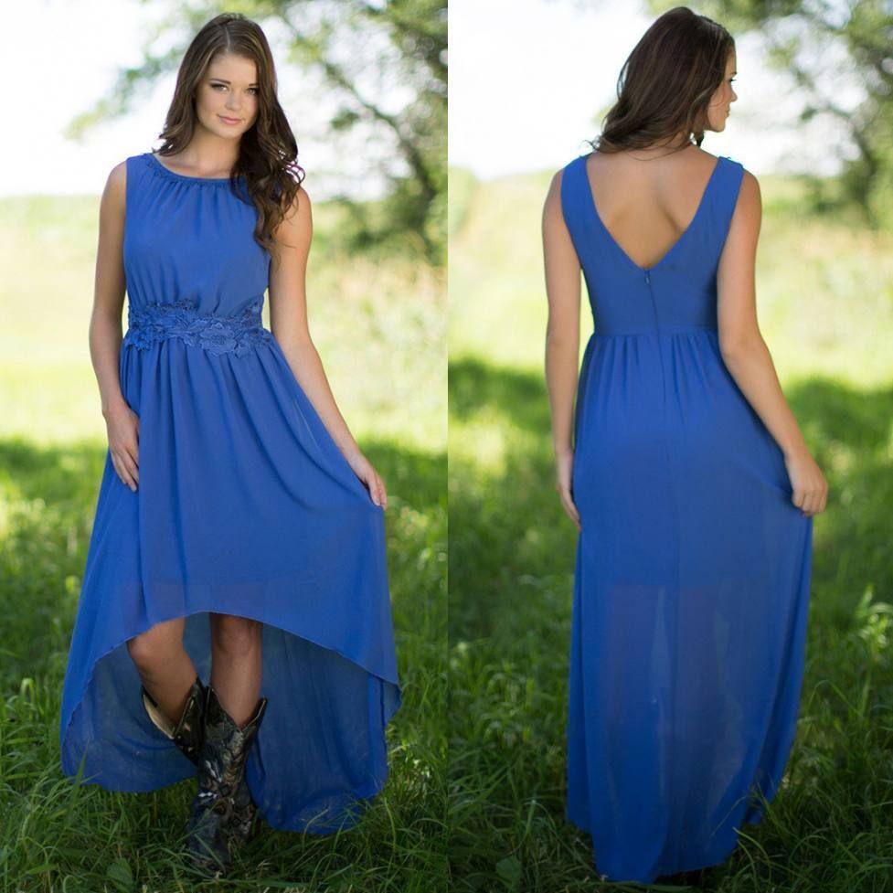c7682e350c0 Blue High Low Lace Country Bridesmaids Dresses Bateau Neck Wedding Guest  Dress Appliques Cheap Chiffon Maid Of Honor Gowns Junior Bridesmaids Dresses  Maxi ...