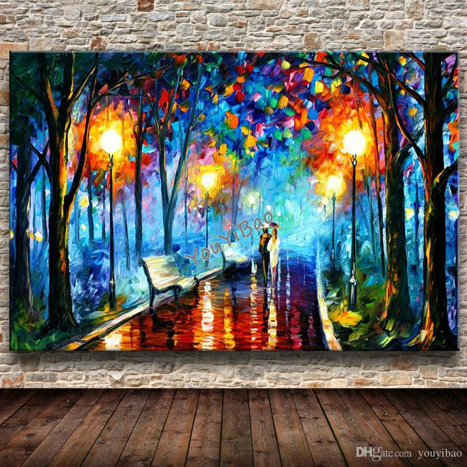 Painting for wall decoration choice image home wall decoration ideas 2018 modern knife oil painting on canvas abstract park landscape 2018 modern knife oil painting on amipublicfo Images
