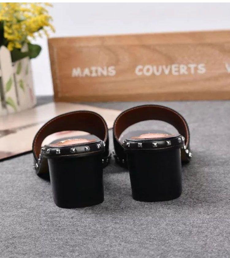 fashionville ~ u725 40/41/42 i in vera pelle muli sandali diapositive scarpe infradito nero rosso bianco estate moda alla moda