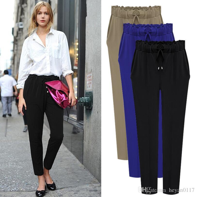 2017 Spring Plus Size Casual Loose Stretch Women Palazzo Pants Harem Style  Female Slack Sweatpant Trousers Canada 2019 From Heyan0117, CAD $13.47