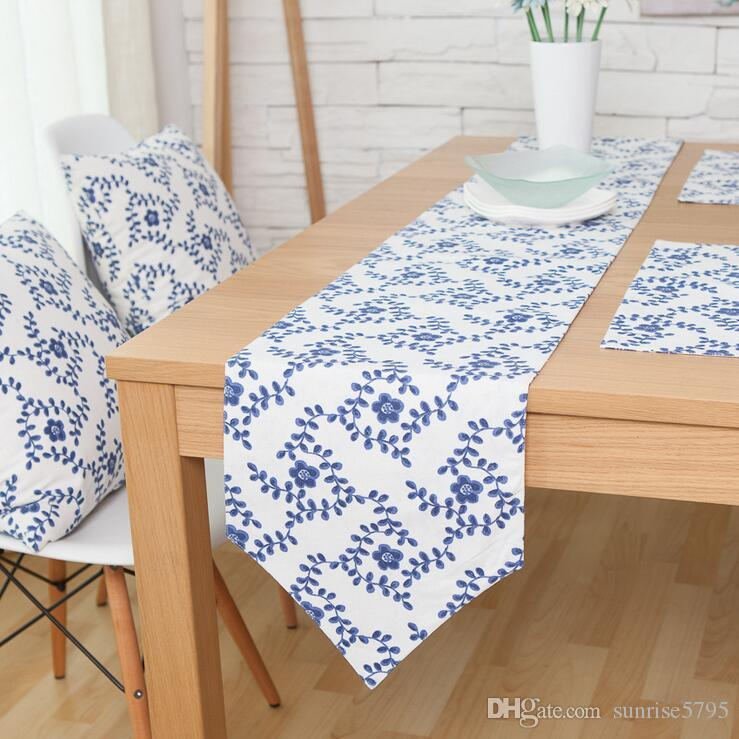 Elegant Chinese Style Table Runner Blue And White Porcelain Runners Set  Cushion Cover Placemat Modern Decorative Tablecloth Accessories Damask Table  Runner ...