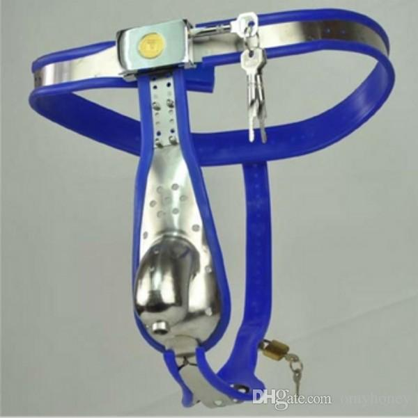 M126 new male stainless steel lockable & adjustable blue chastity devices with penis ring cock cage & anal toys anal plug, sex toys for men