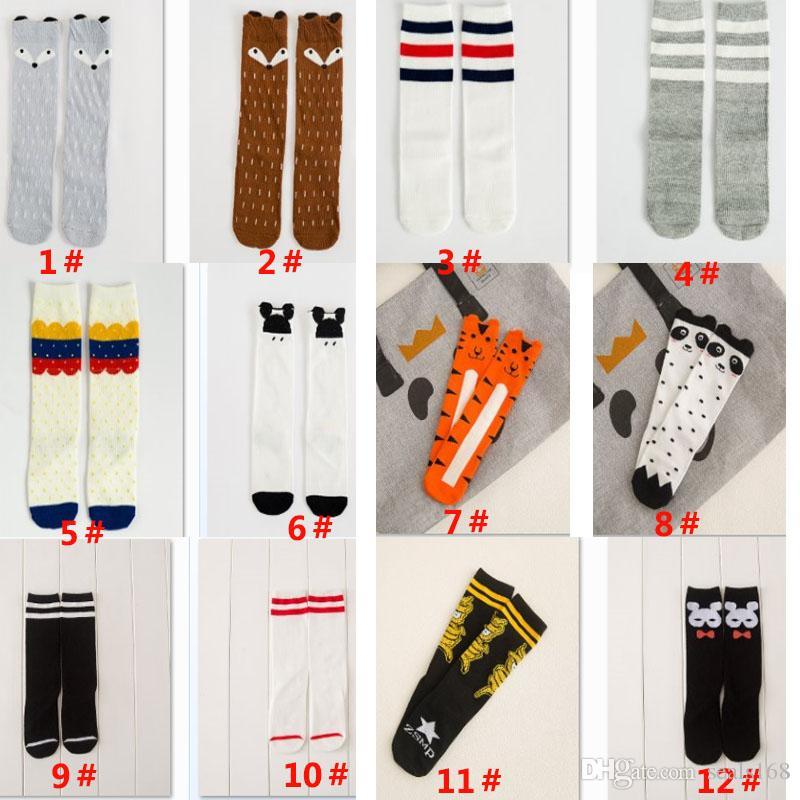 Medias de calcetines de Fox de algodón para bebés Niños Medias de calcetines de pierna largas calcetines de las niñas recién nacidas Calcetines de puntos de punto de Chevron de rayas Navidad Regalos PX-S14