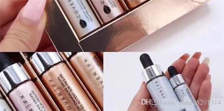 최신 얼굴 형광 파우더 세트 메이크업 글로우 커버 FX 맞춤형 강화제 4.5ml 액체 하이라이트 화장품 DHL A08 상품