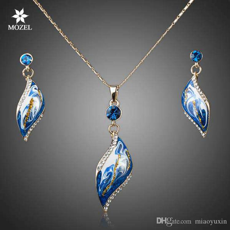 Wholesale MOZEL Fashion Jewelry Swarovski Elements Gold Plated Bule Oil Painting Pattern Drop Earrings and Necklace Jewelry Sets TG0033