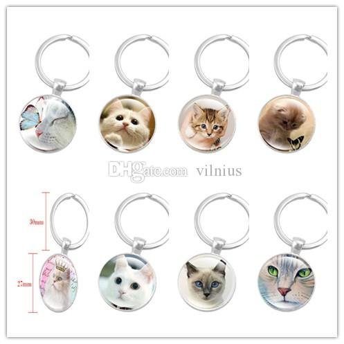 New Creative Silver Color Key Chain Cute Cat Keychain Jewelry Art Glass Cabochon Pendant Keyring Key Ring for Women Lover Gifts