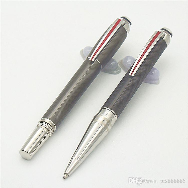 superfícies escovadas luxo raro resina chapeamento rolo designer de caneta bola e PVD-revestidos acessórios mb presentes marca de escrita de caneta esferográfica