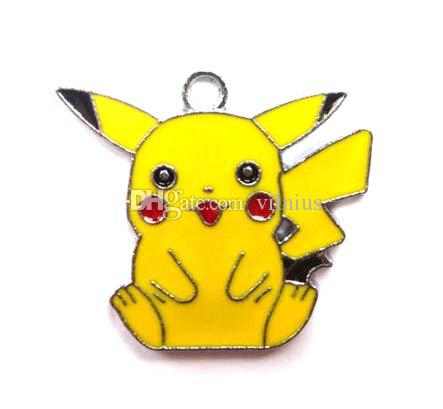 Mixed Classic Anime Cartoon Yellow Pikachu Metal Charm Pendants Jewelry Making Toy Choose Design