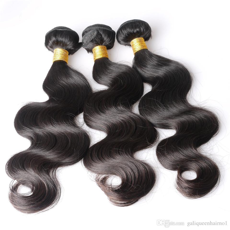 Vizon Brezilyalı Vücut Dalga İnsan Remy Düz saç örgüleri 100g / pc / Çift atkıların Doğal Siyah Renk İnsan Bakire Saç Uzantıları