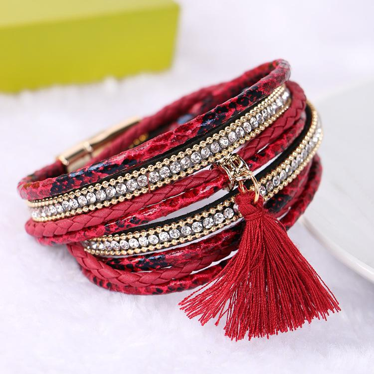Bohemian Multilayer Leather Bracelets For Women Rhinestone Crystal Bracelets Tassel Magnetic Double Bracelets & Bangles Handmade Weaves