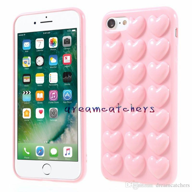 3D Heart Case For iphone 8 X 7 Plus with Lanyard Soft Lover Silicone Jelly Luxury Phone Cover for 6 6s Plus Skin Back Shell with Hang Rope