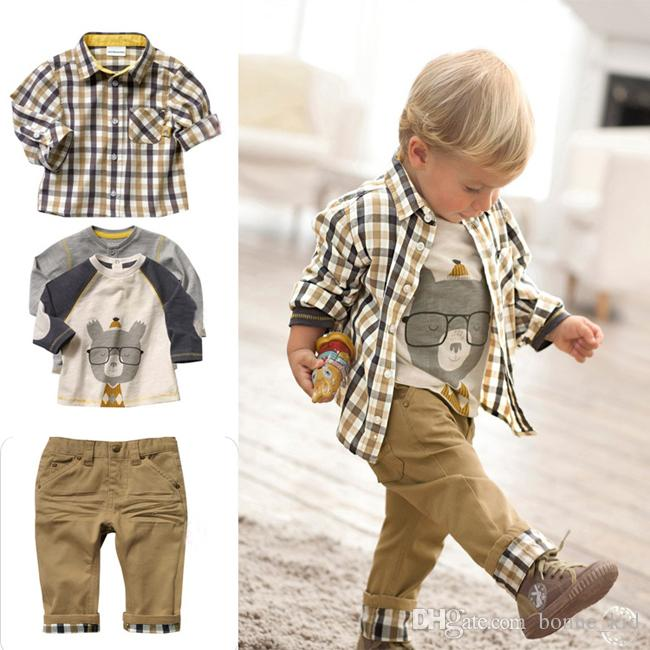 337cd1d99 2019 Kid Boy Clothing Outfit Aninmal T Shirt Checkered Shirt Pants Outfits  Lovely Baby Clothes Preppy Style Boy Sets Fall Boutique Suit From  Bonne_kid, ...