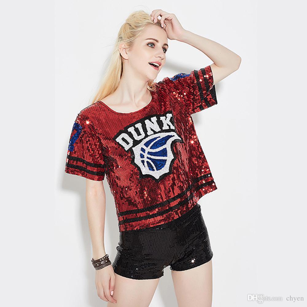 Fashion T Shirt Feminina 2016 Sequin Top Shiny Ropa Mujer Punk T Shirt Roupa Feminina Korean Woman Tops Hip Hop Dancing Clothing