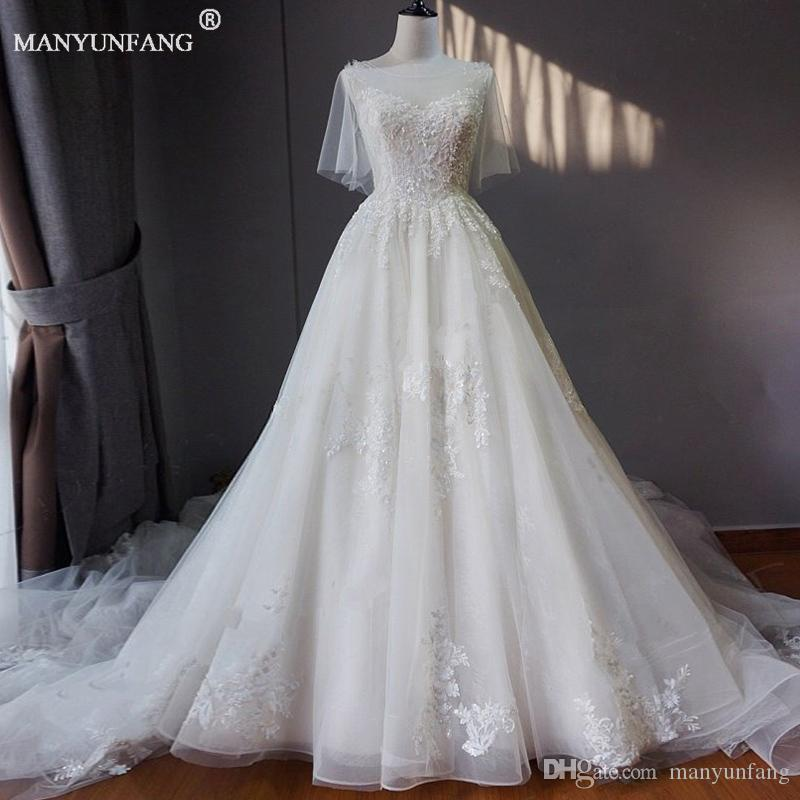 Discount 2018 New Design Wedding Dresses Half Sleeve Beads Vintage A Line Modern Bohemian Bridal Gowns Cathedral Train Robe De Mariage