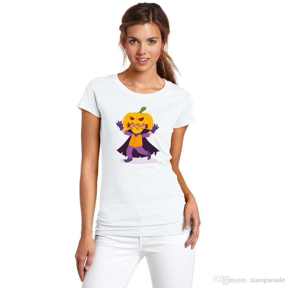 Traje de Halloween de verão Harajuku T-shirt Para As Mulheres Engraçadas Abóbora Palhaço Impresso Camiseta Feminina Mulheres Menina Moda Tee Tops