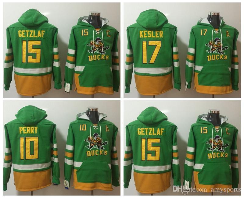 Nice nhl hoodies anaheim ducks 15 ryan getzlaf green jerseys hoodys  for sale