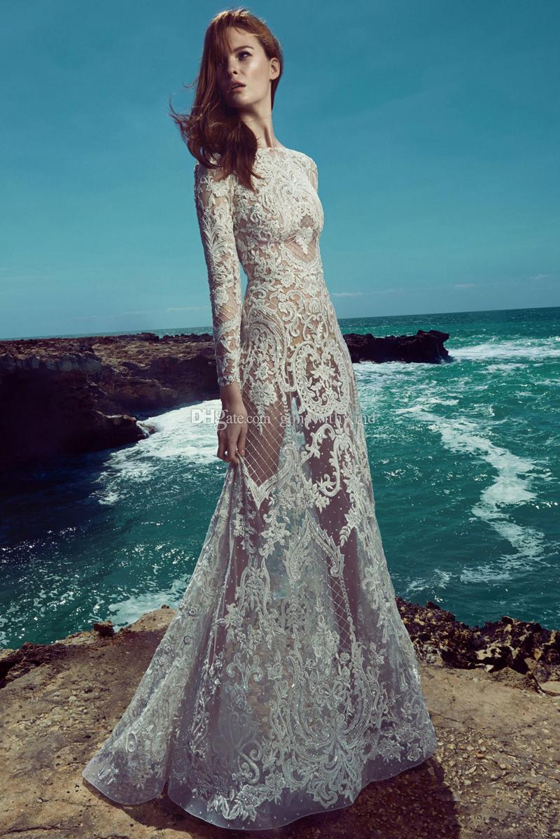d3dd5ee295f длинный рукав пляж кружева свадебные платья 2017 Zuhair Murad свадебное  платье д