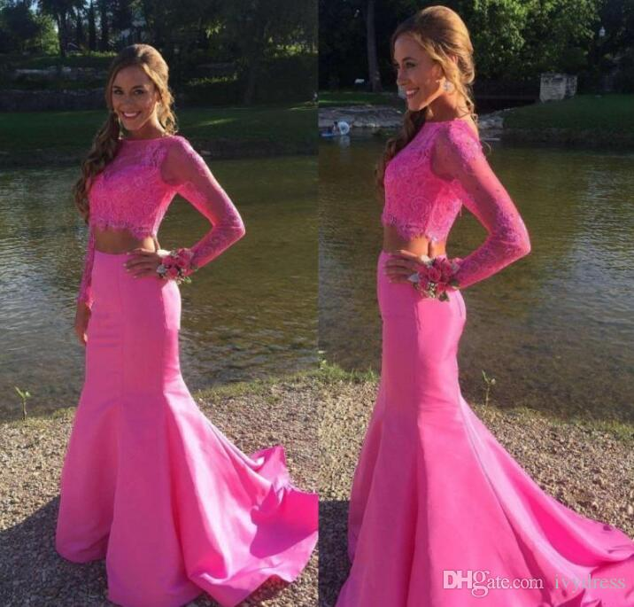 2017 Fuchsia Two Pieces Mermaid Prom Dresses Bateau Neck Lace Crop ...