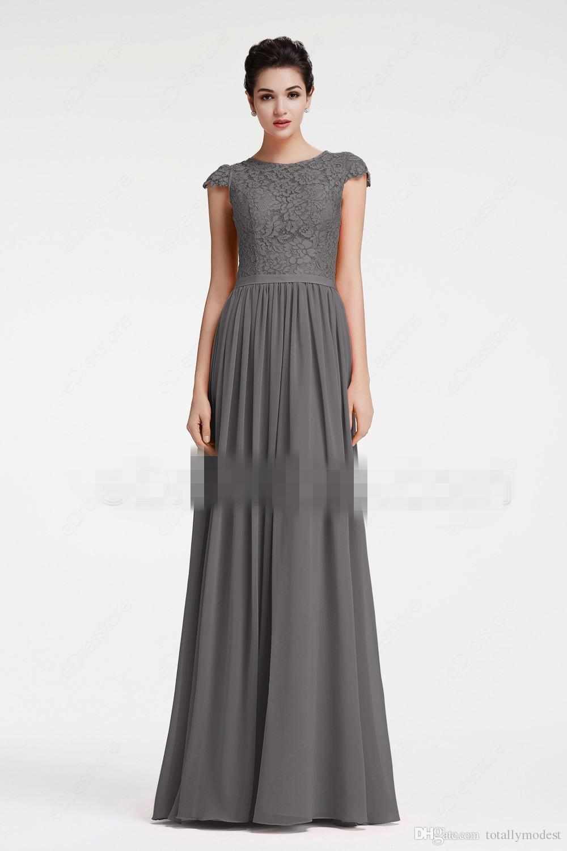 해변 롱 겸손한 신부 들러리 드레스 캡 슬리브 회색 레이스 시폰 나라 여름 웨딩 파티 가운의 하녀 명예 드레스 2019