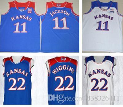 3b7f44e809c7 ... 2017 2017 New Kansas Jayhawks College Basketball Jerseys 11 Josh  Jackson 22 Andrew Wiggins University Blue ...
