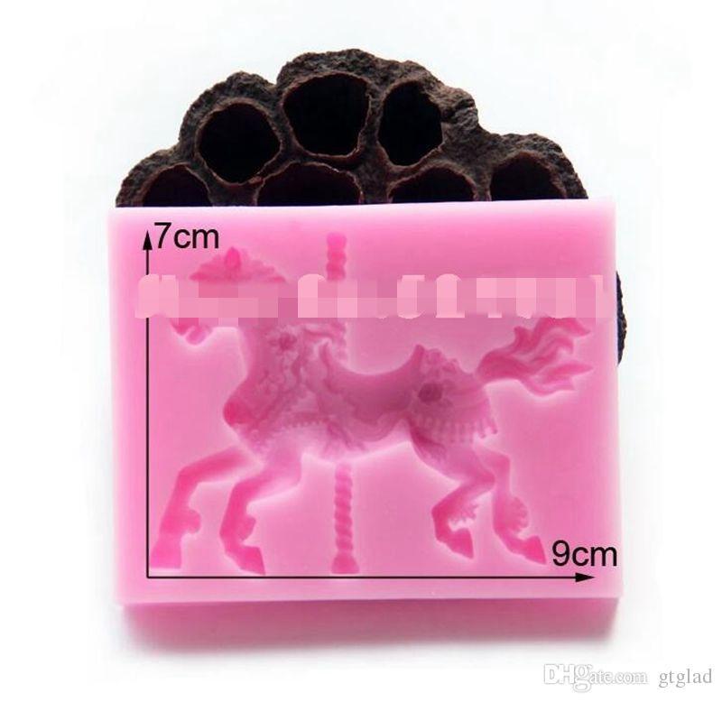 3D Schmuck Karussell Pferd Form Fondantkuchen Formen Silikonform Cupcake Form Backenwerkzeuge Schokoladenform Heiraten