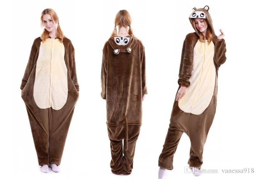 Brown Chipmunk Onesies for Men Women Unisex Pajama Sets Animal Cartoon Cosplay Theme Costume Kangaroo Onesie Sleepwear MX-005