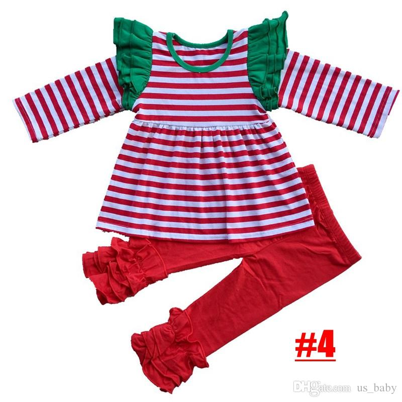 28b0530c72b2 Baby Girl Christmas Boutique Outfits High Quality Girls Striped Deer Tops  And Flower Pants With Ruffle Set Girls Pjs Pajamas For Girls From Us_baby,  ...