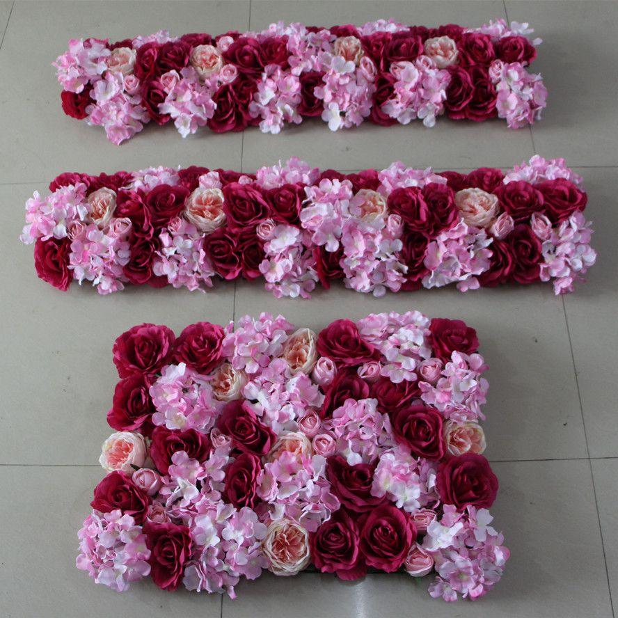 Artificial Silk Flower Wall Wedding Background Arch Flower Row Lawn