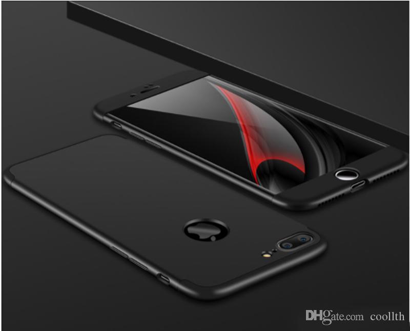 아이폰 7 플러스 360도 케이스를위한 럭셔리! 패션 슬림 하드 PC 도금 전신 케이스 아이폰 6 6 플러스 7 7 플러스 + 투명 유리 필름 도매