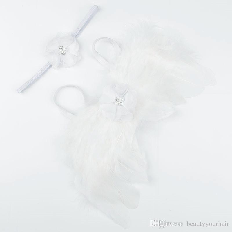Bebek Melek Kanat + Kristal Inci Şifon çiçek bandı Fotoğraf Sahne Set yenidoğan Pretty Melek Peri tüyler Kanat Kostüm Fotoğraf Prop