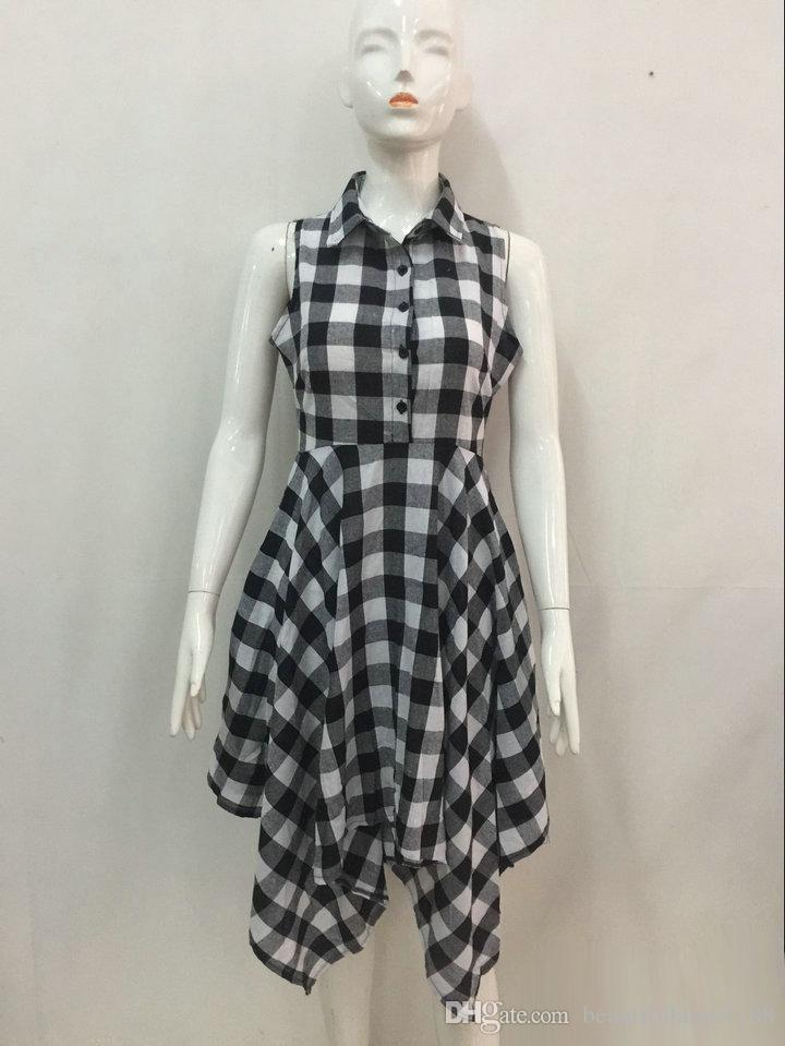 Casual Vintage Dress Women Fashion Sleeveless Tunic Shirt Dress 2017 Summer White Red Plaid Party Dress Sexy Irregular Asymmetri Office Robe