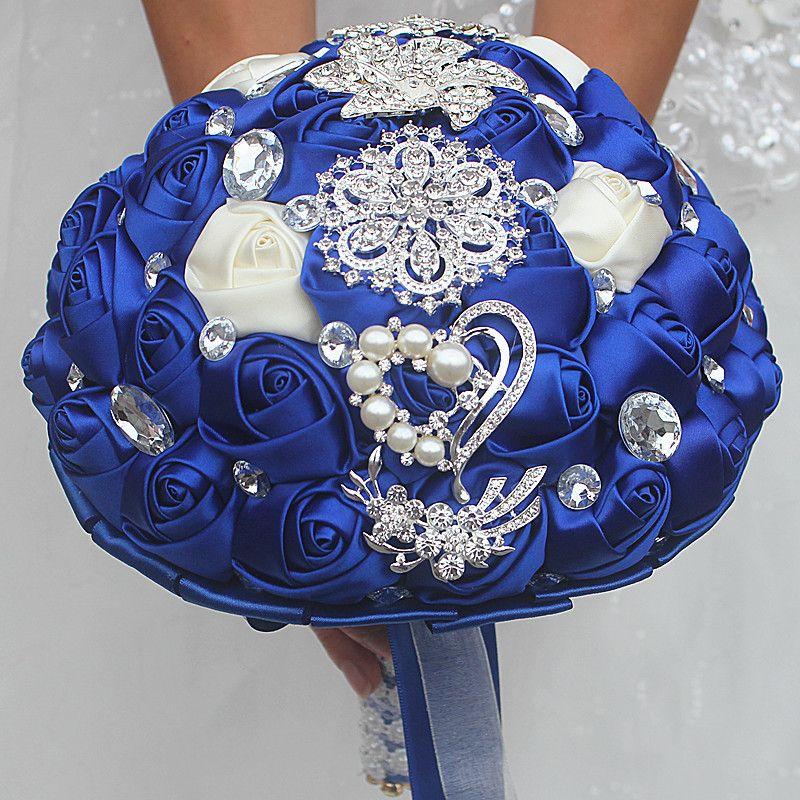 Royal White Wedding Bouquet Künstlicher Bonbon 15 Quinceanera Bouquet Kristallseidenband New Buque De Noiva 37 Farben W228-F Kostenloser Versand
