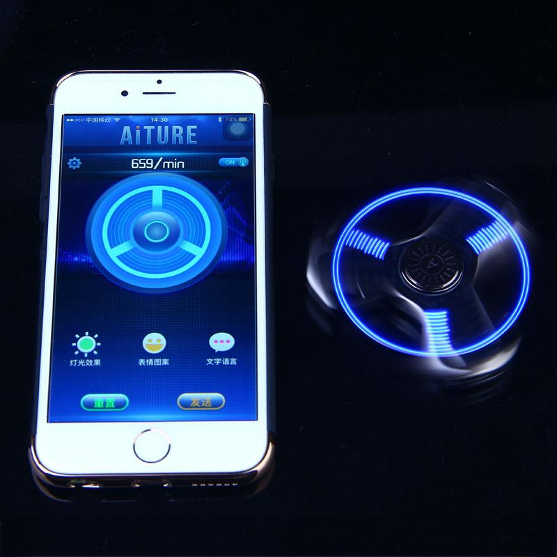 Bluetooth Control Hand Spinner With Led Light Display Speed Sensory