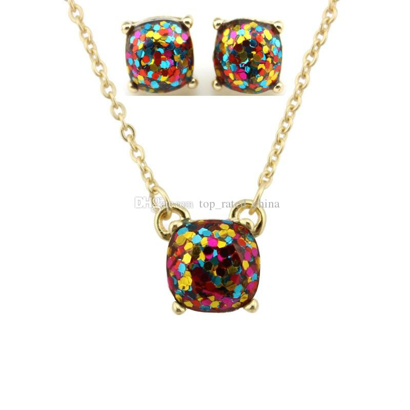 Hot Sale Kate Style Opal Glitter Studs Necklace Gold Rainbow Square Glitter Stud Earrings Necklace Set New York Women Fashion Jewelry