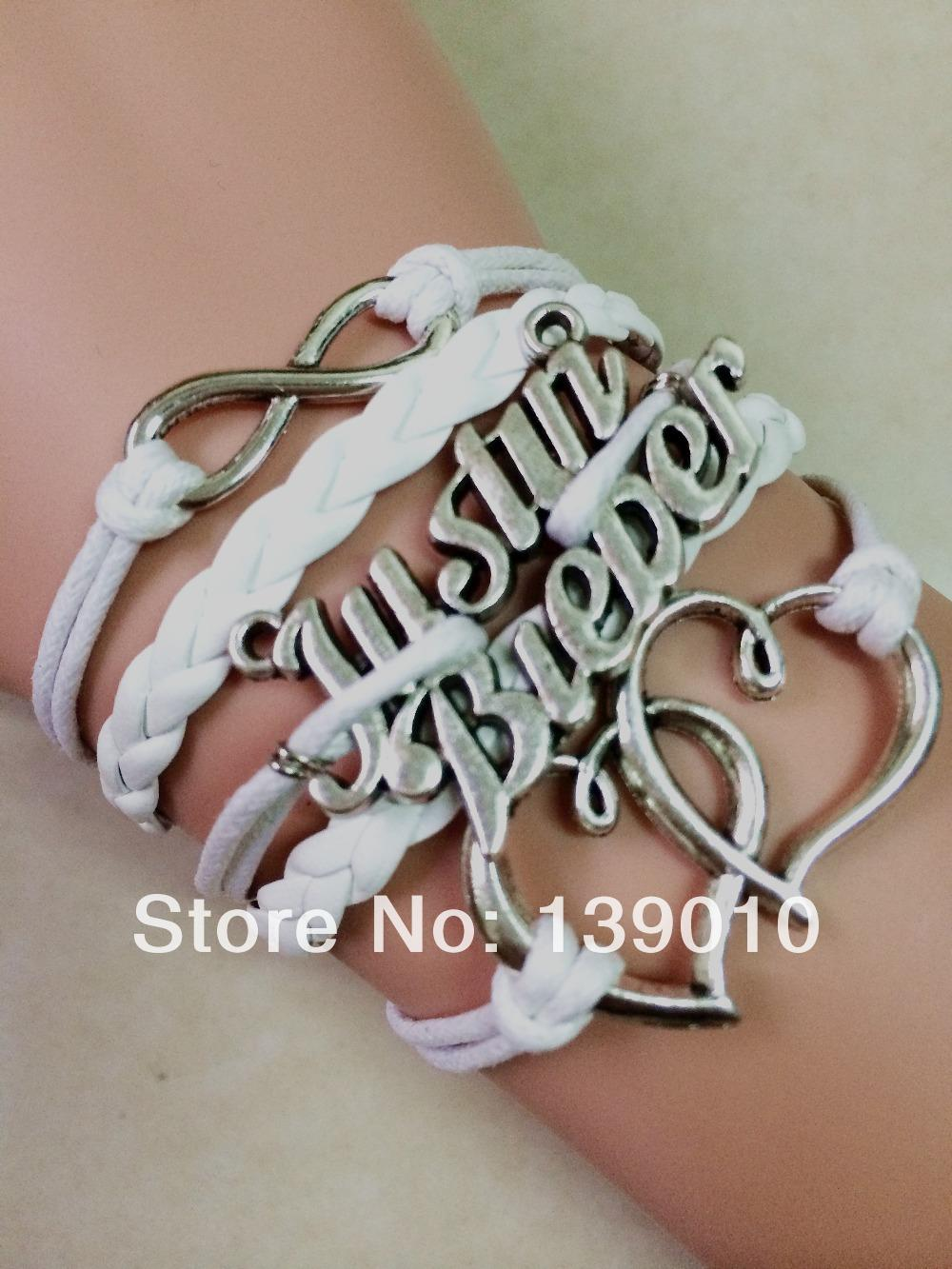 New Design Antique Silver Heart Justin Bieber Infinity Charm Bracelets Bangles 2016 Multicolor Leather Rope Cuff Lovers Jewelry