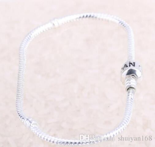 Charm Bracelet Brands 16-23cm European Style Charm Bracelet Chain Clasp Copper Plating Silver Girls Bangle Jewelry DIY Wholesale Snake Chain