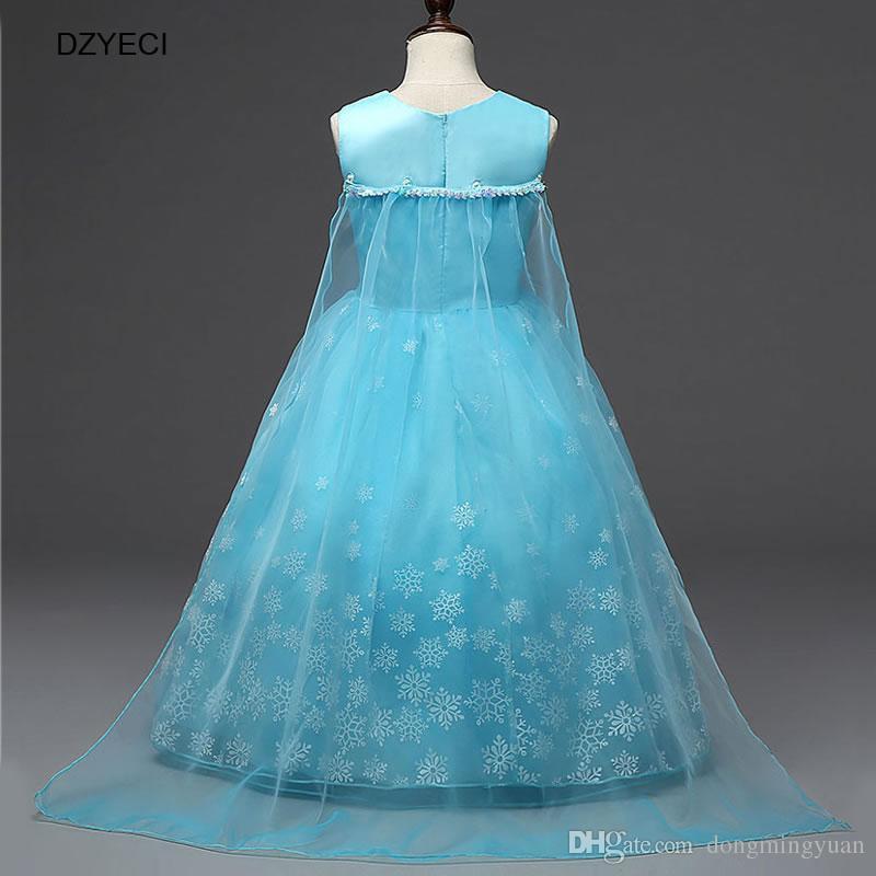 Rainha da neve Traje Da Princesa Para A Menina Vestidos de Floco De Neve Deguisement Adolescente Crianças Lantejoulas Cerimônia Vestido De Baile Partido Elza Vestido Roupas