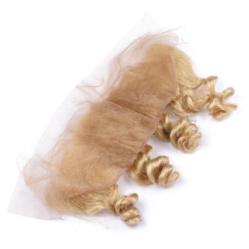 Brésilienne Blonde Vierge de Cheveux Humains Dentelle Frontale Fermeture 13x4 Libre Milieu Trois Partie Vague Lâche ondulée # 613 Bleach Blond Full Lace Frontals