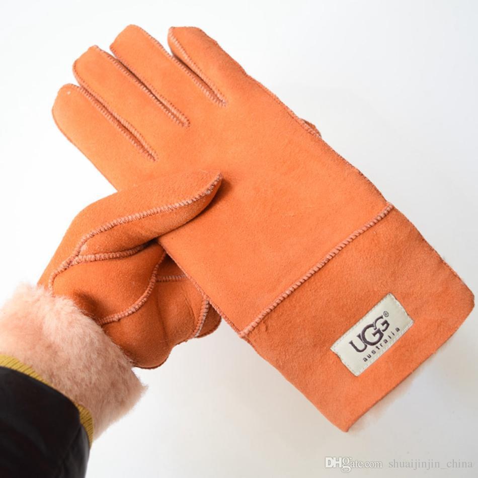 Guanti di pelle di pecora Guanti di pelle di pelliccia Guanti di pelle di pecora Guanti di pelliccia di colore solido Guanti caldi invernali all'aperto LJJO3142