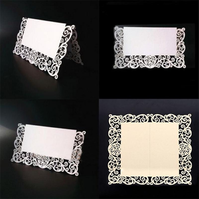 레이스 이름 장소 카드 웨딩 파티 테이블 세련된 Pearlescent 장식 테이블 이름 메시지 베이지 화이트 인사말 카드 50 개 / 대