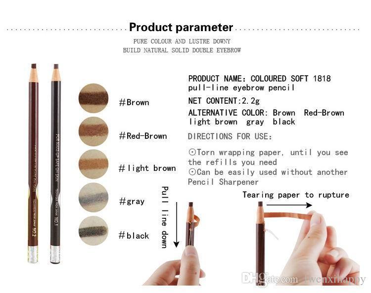 5 cores 1818 Longa Duração Lápis de sobrancelha impermeável maquiagem dos olhos Brow Pen Ferramenta de claro / escuro Café Cinzento Vermelho-Brown