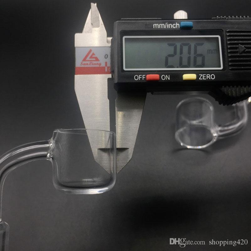 2mm XL 25mm OD Flat Top Quartz Banger Unhas 45/90 Graus com tampa de vidro carb livre Para Bongos De Vidro Plataformas de Petróleo