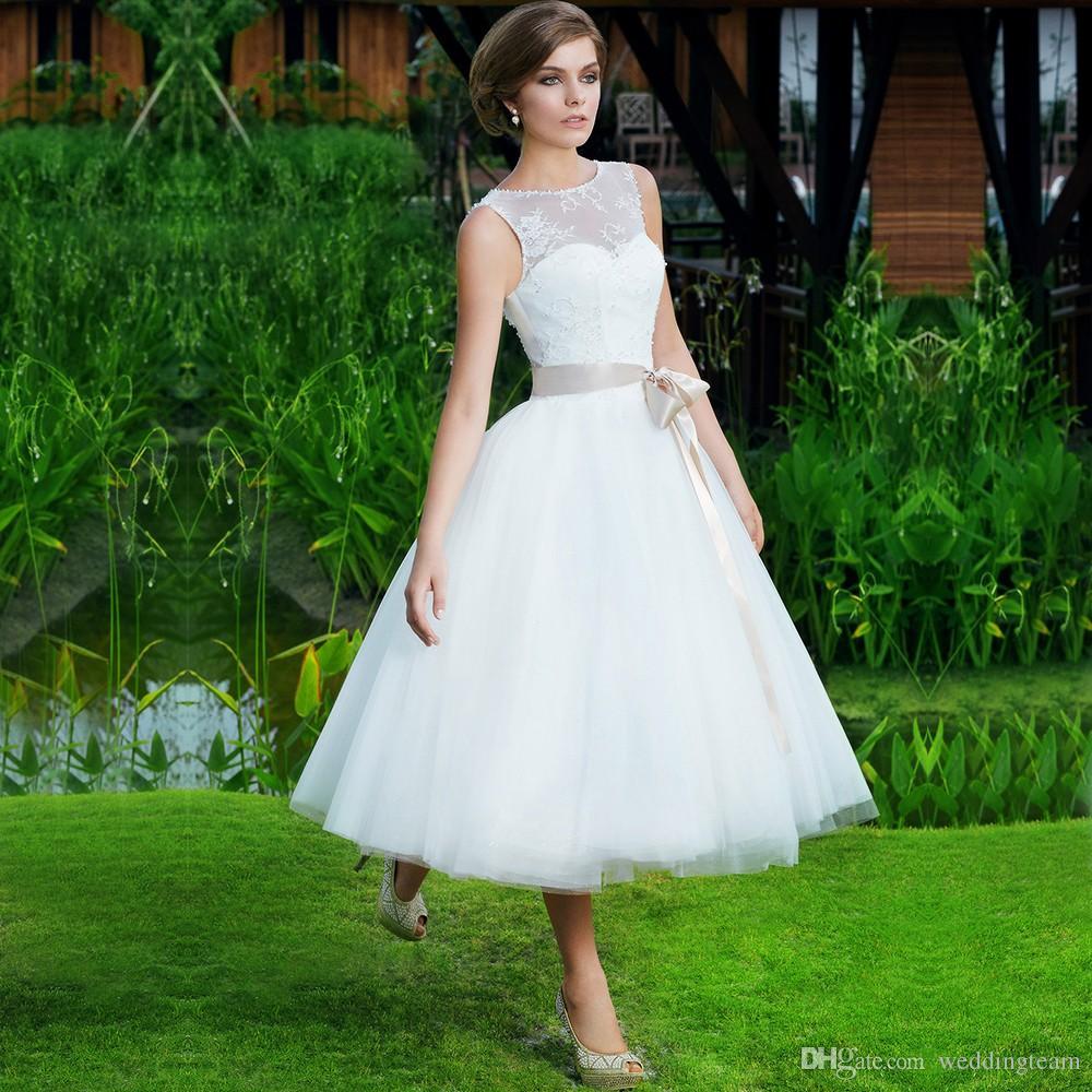 Discount Sweet Princess Tea Length Wedding Dresses A Line