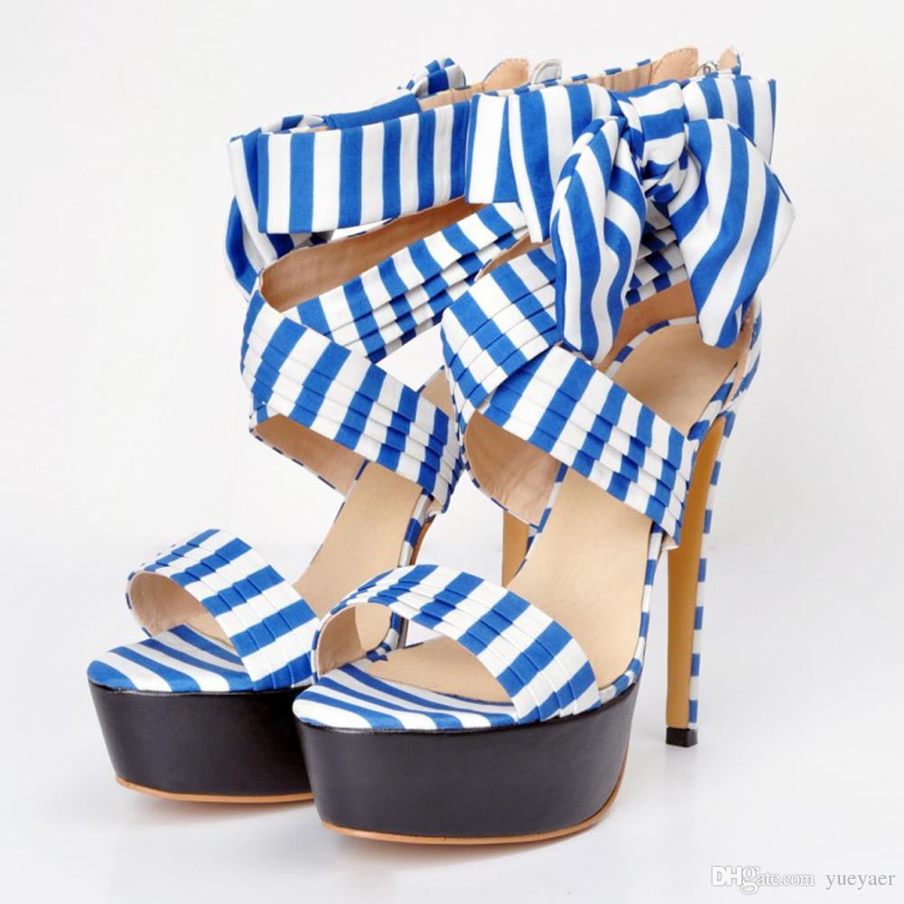 Zandina Frauen 14,5 cm Sky Slim High Heel Patchwork Sexy Party Evning Sandalen Schuhe Blau XD211