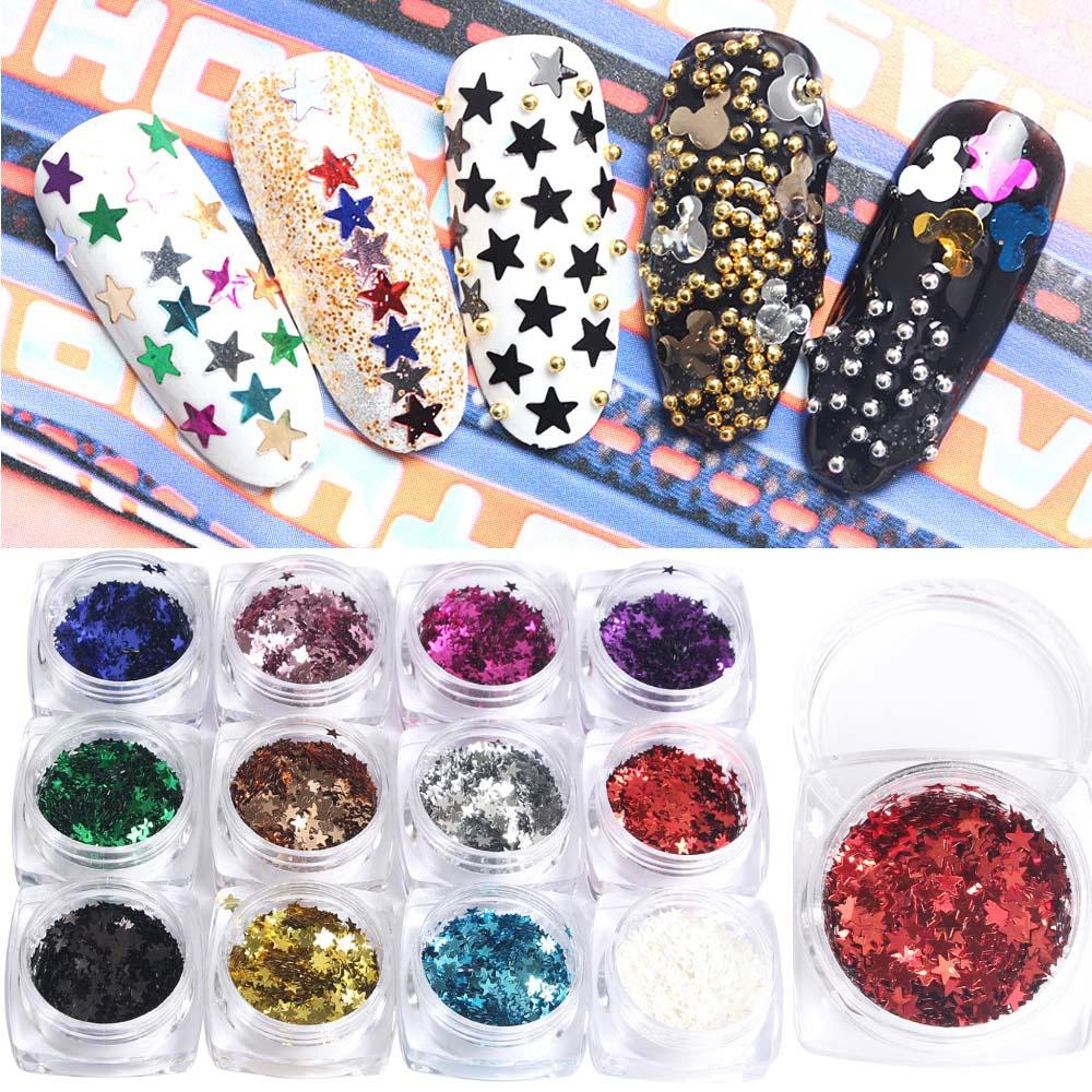 New Nail Art Decorations Star Sequins Metallic Paillettes 12boxnail