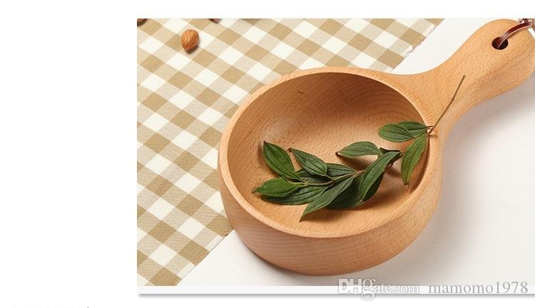 Японский Бук длинная ручка риса совок ложка деревянная посуда большой деревянный Байлер ложка воды деревянный ковш LC 004