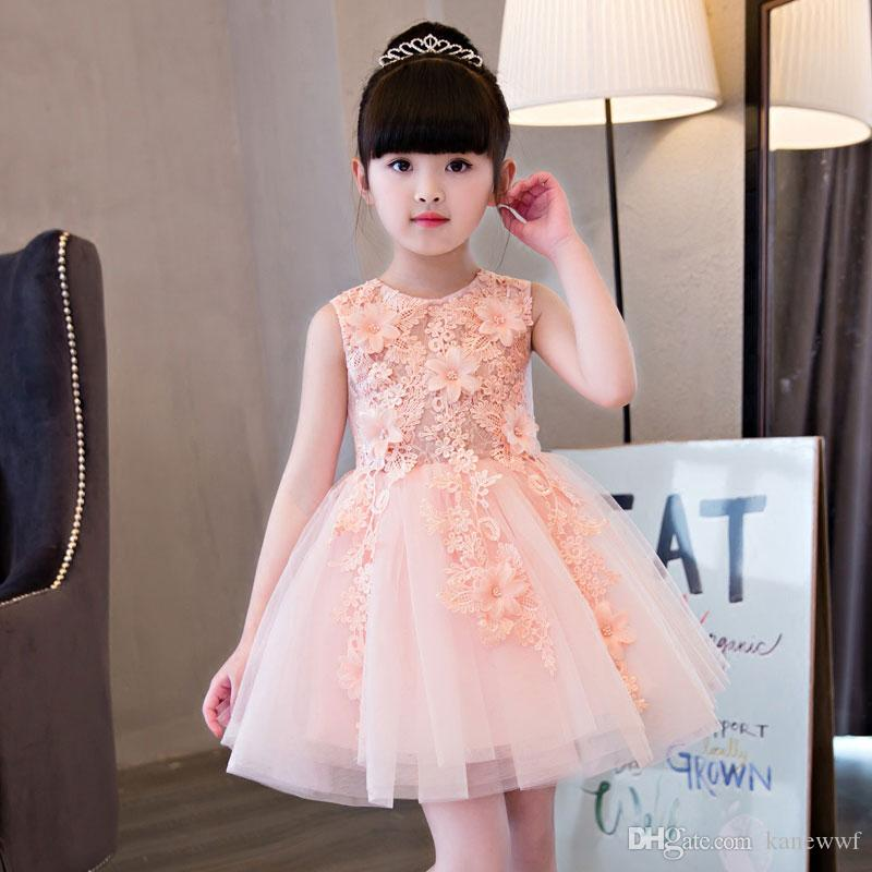 Fashion New Wedding Lace Tulle Flower Girl Dress Princess With Appliques  Ball Gown Party Princess Birthday Kids Girls Vestido Flower Girl White Dress  Flower ... c4521154a4f5