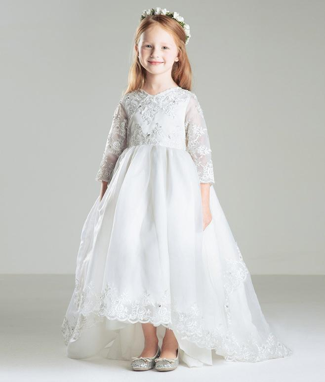 White Princess High Low Lace Flower Girl Dresses For Weddings 3/4 ...