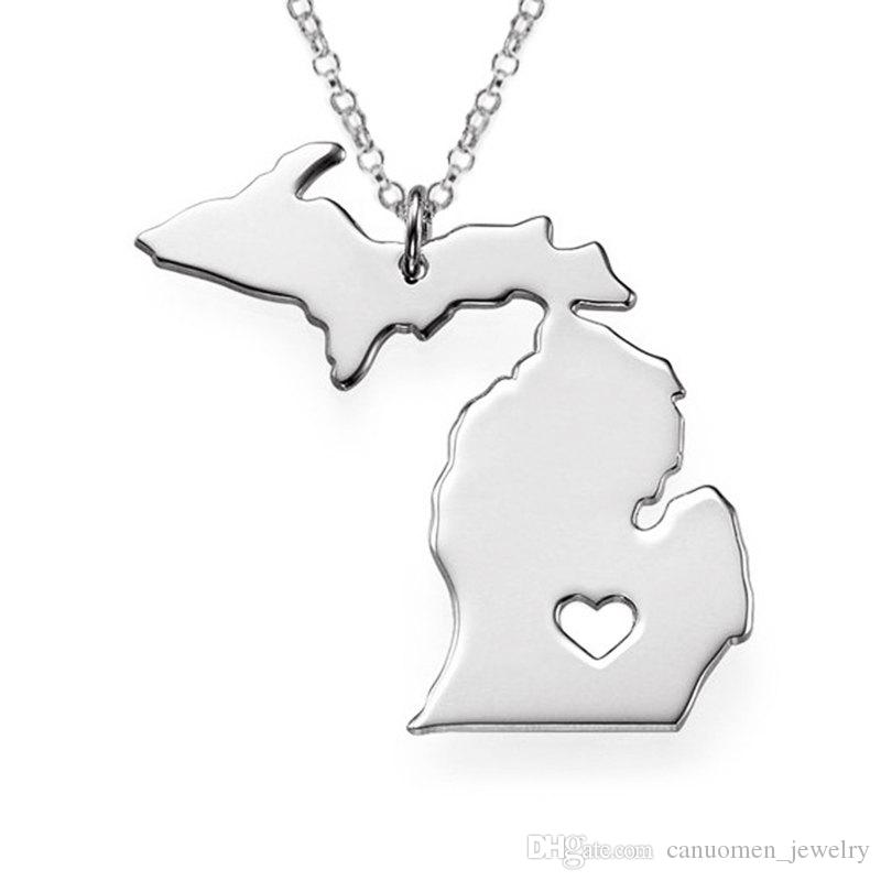Michigan Map Stainless Steel Pendant Necklace with Love Heart USA State MI Geography Map Necklaces Jewelry for Women and Men